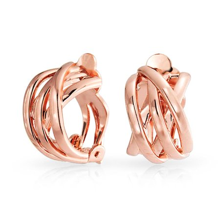 Bling Jewelry Rose Gold Plated Criss Cross Half Hoop Clip On Earrings