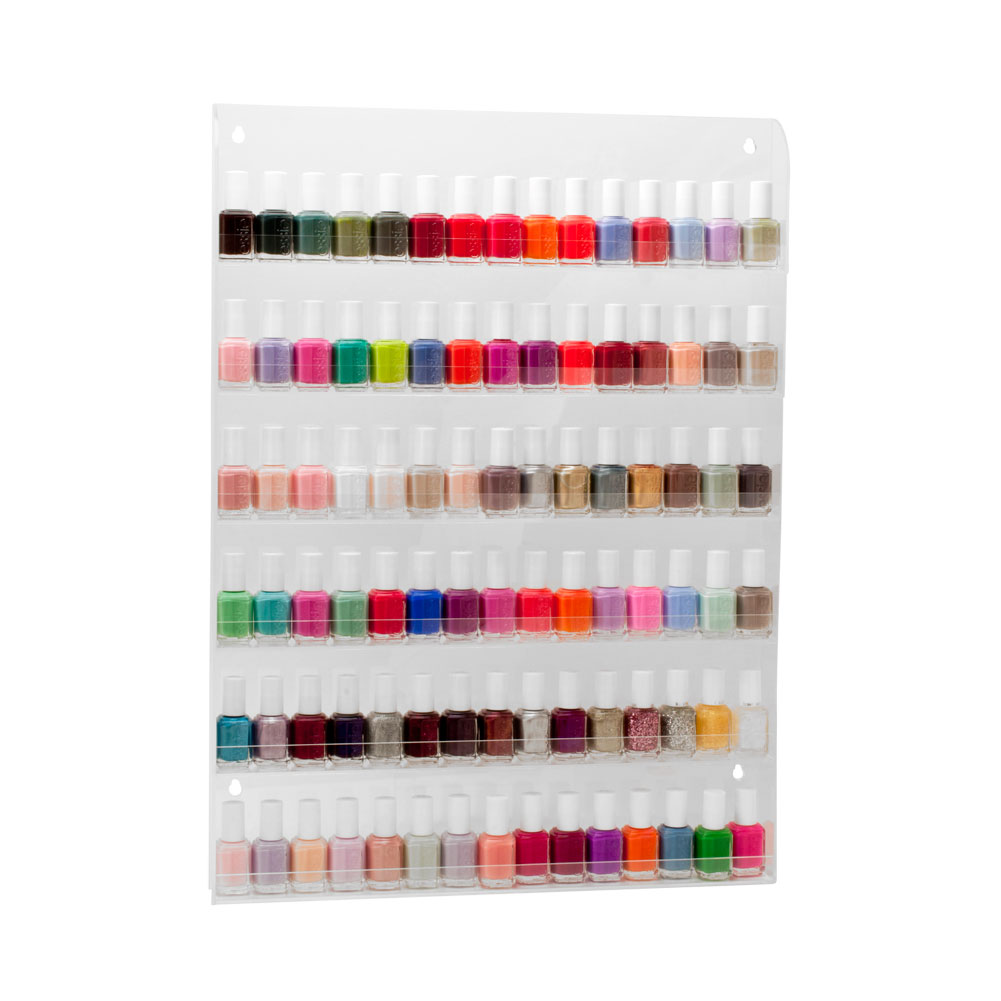 Salon Supply Store Large Acrylic Nail Polish Countertop 90 Bottle Display Shelf, CLEAR, 600