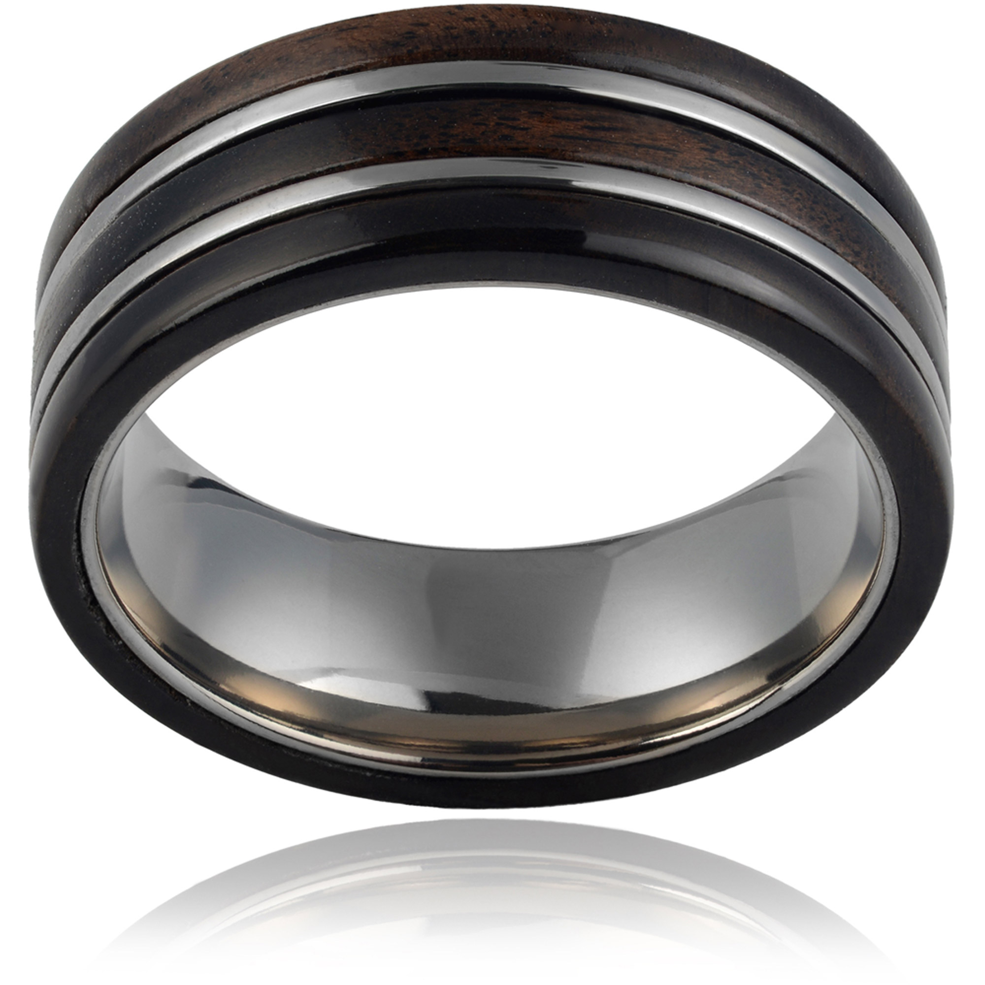 Daxx Men's Titanium Dark Hawaiian Koa Wood Inlay Fashion Ring