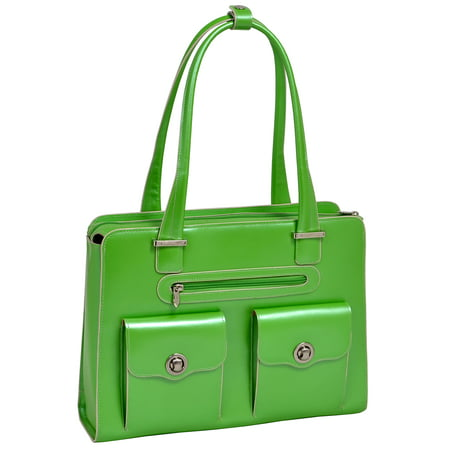 McKlein VERONA, Fly-Through Checkpoint-Friendly Ladies' Laptop Briefcase, Top Grain Cowhide Leather, Green (96621)