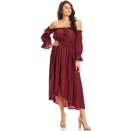 Fashion Womens Casual Long Sleeve Renaissance Peasant Boho Off Shoulder Maxi Beach - Renaissance Clothes Cheap
