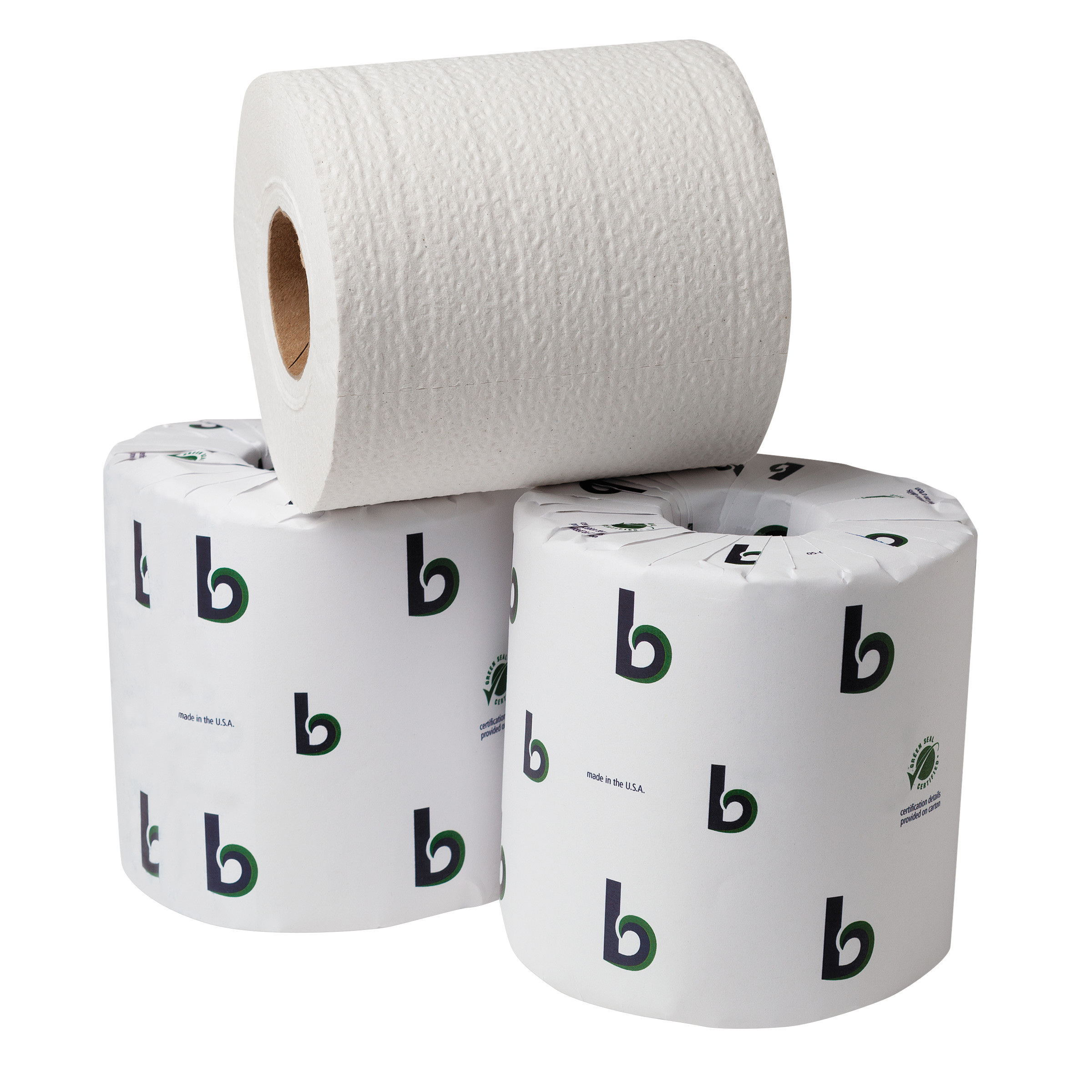 Boardwalk BWK20GREEN Boardwalk Green Bathroom Tissue, 2-Ply, White, 500 Sheets/Roll, 96 Rolls/Carton