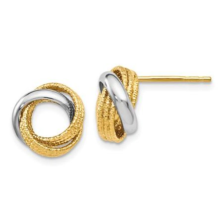 4609f756d Leslies - Leslie's 14k Two-tone Polished Textured Love Knot Earrings -  Walmart.com