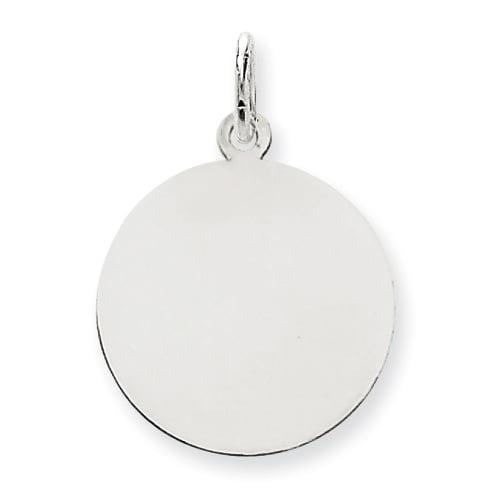 14K White Gold Plain .009 Gauge Round Engravable Disc Charm - image 2 de 2