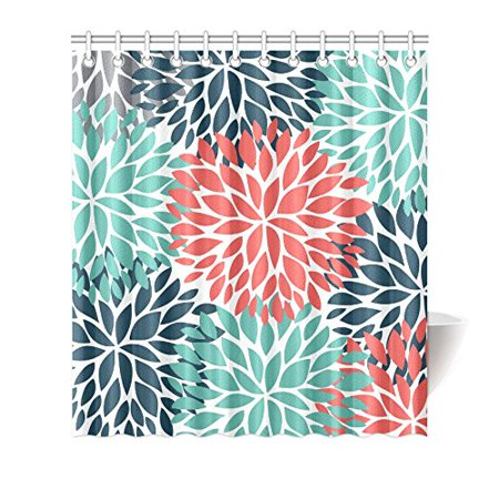 MKHERT Dahlia Pinnata Flower Teal Coral Gray Decor Waterproof Polyester Bathroom Shower Curtain Bath Decorations 66x72 Inches (Shower Curtain Teal Grey)