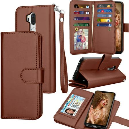 new style f3c91 b7bef LG G7 ThinQ Case, LG G7 ThinQ Wallet Case, LG G7 2018 PU Leather Case,  Tekcoo Luxury ID Cash Credit Card Slots Holder Carrying [Brown] Folio Flip  ...