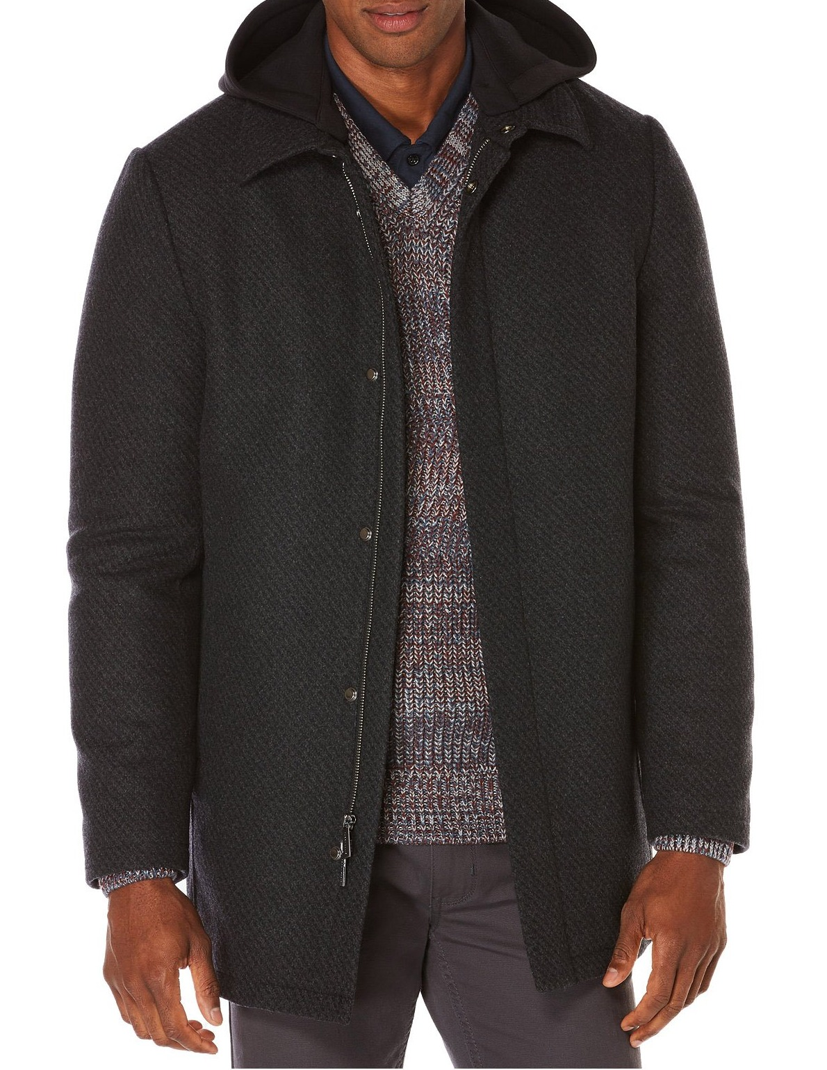 Perry Ellis New Gray Mens Size Small S Printed Hooded Coat Wool by Perry Ellis