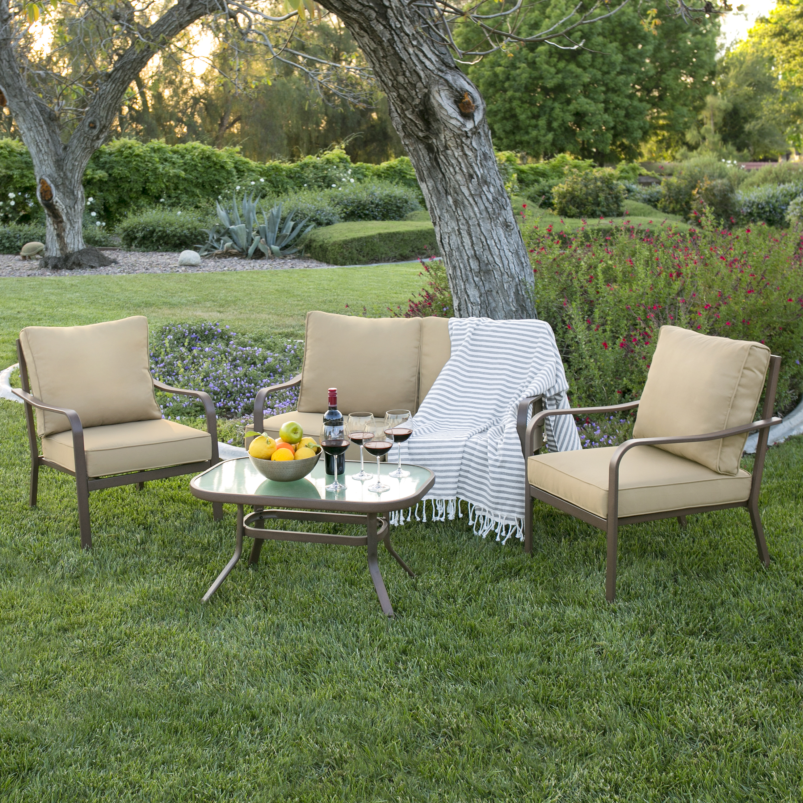 Best Choice Products 4 Piece Cushioned Patio Furniture Set W/ Loveseat, 2  Chairs,