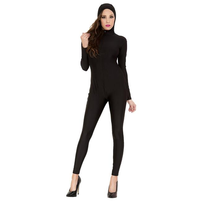 Full Body Long Sleeve Bodysuit with Attached Hood ...
