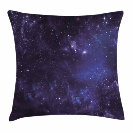 Galaxy Throw Pillow Cushion Cover, Celestial Stars in Night Sky Stardust in Clouds Magical Fantasy World of Space, Decorative Square Accent Pillow Case, 18 X 18 Inches, Black Navy Blue, by Ambesonne