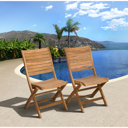 Amazonia Turnberry Teak Wood Outdoor Folding Side Chairs, Set of 2, Light Brown