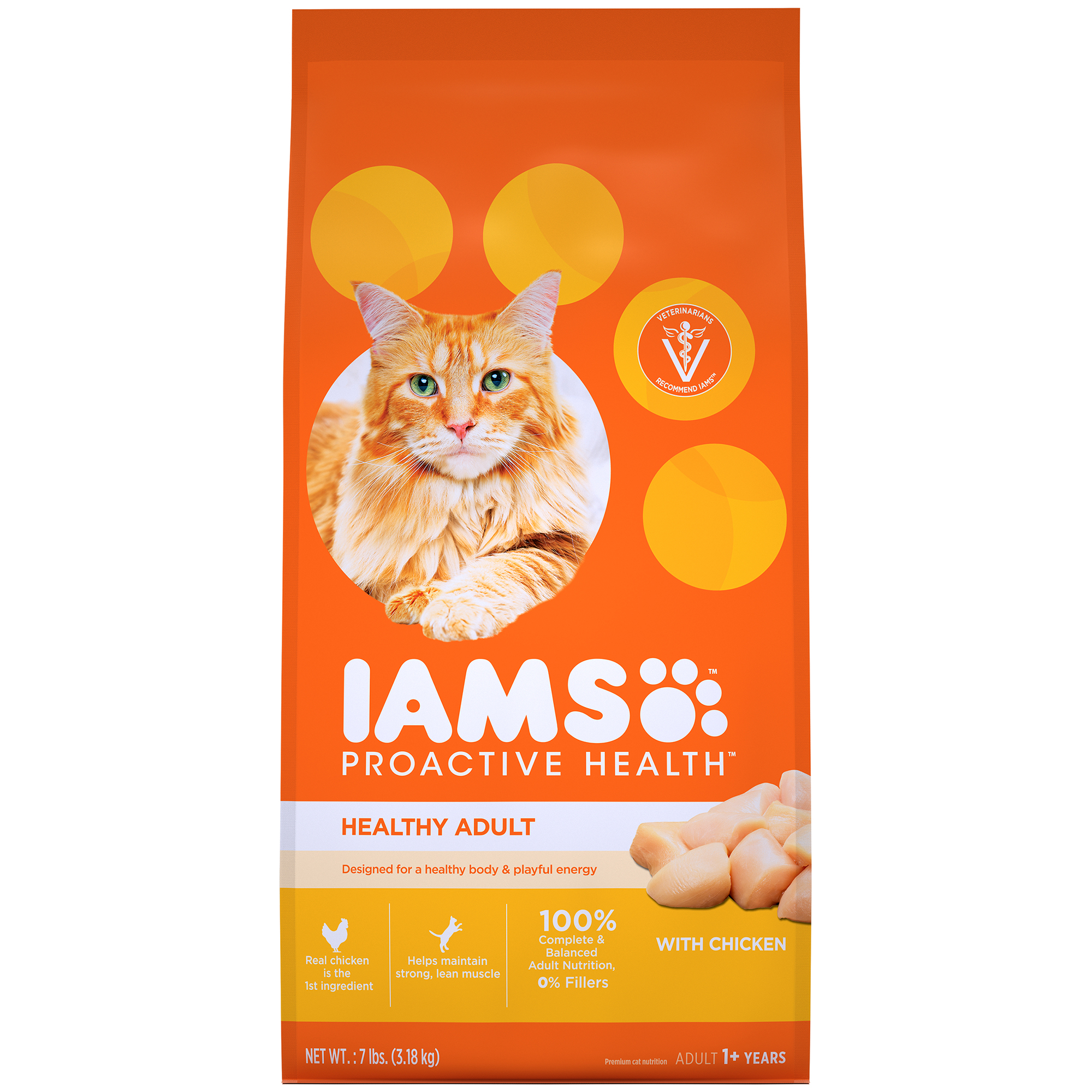 IAMS PROACTIVE HEALTH Healthy Adult Dry Cat Food with Chicken, 7 lb. Bag by Mars Petcare