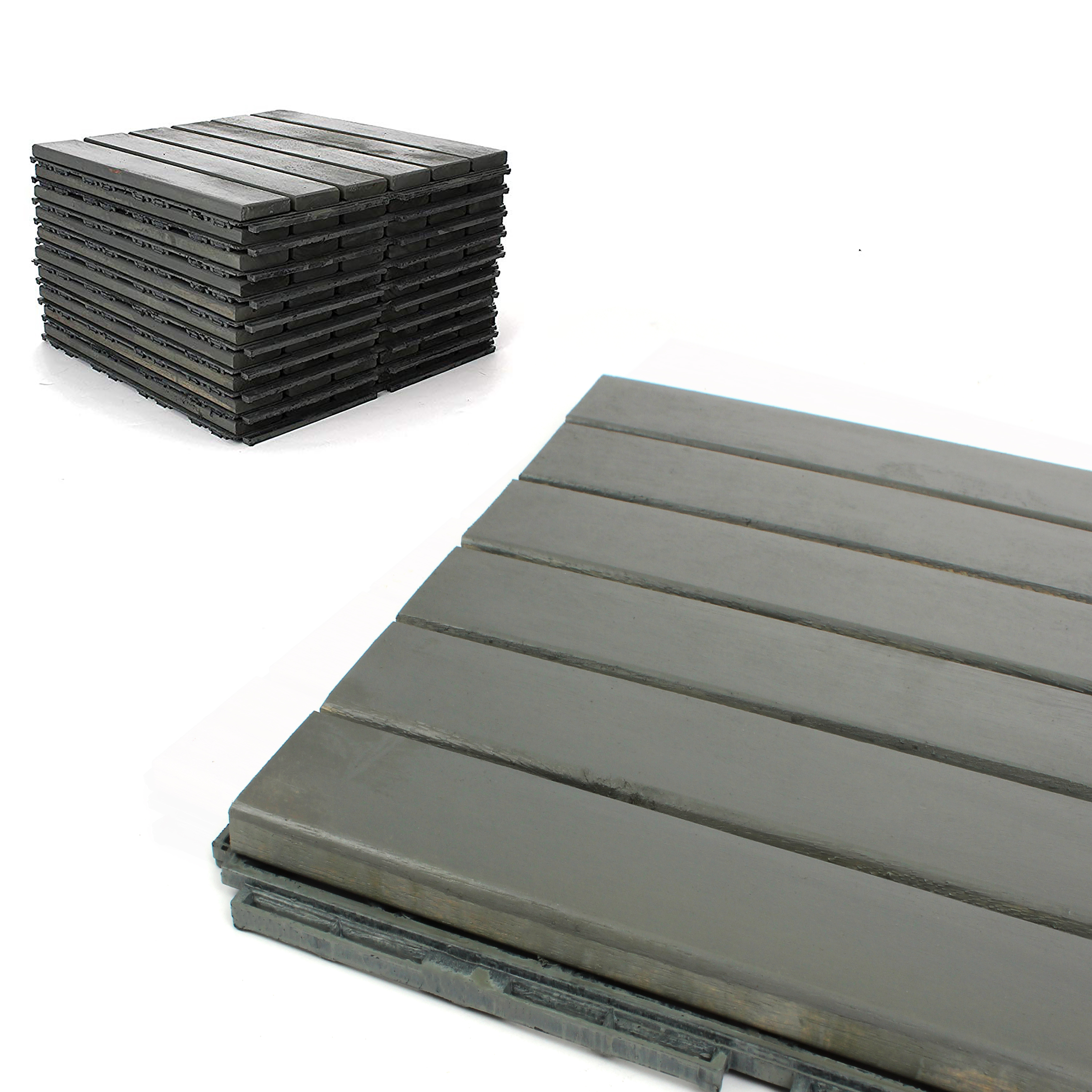 Deck Tiles Patio Pavers Acacia Wood Outdoor Flooring Interlocking 12 X12 6 Pack Modern Grey Finish Straight Pattern Decking