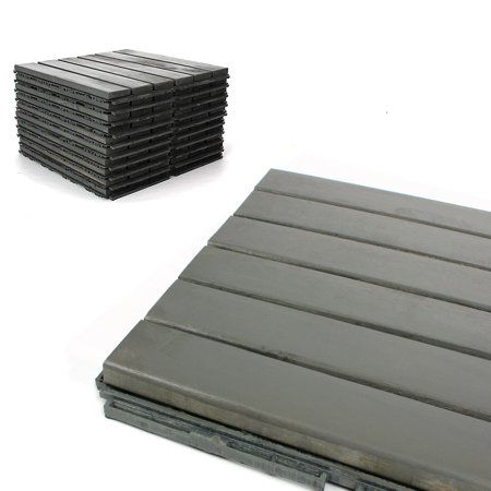 "Deck Tiles - Patio Pavers - Acacia Wood Outdoor Flooring - Interlocking Patio Tiles - 12""x12"" (6 Pack) - Modern Grey Finish - Straight Pattern Decking"