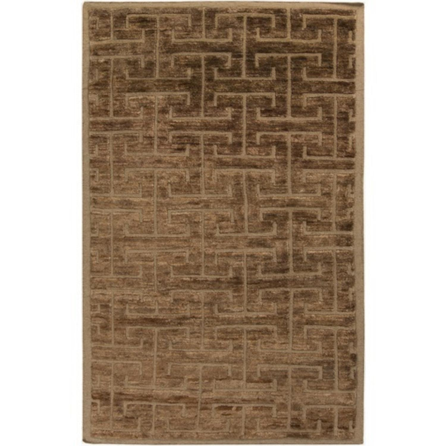 3.25' x 5.25' Forked Maze Umber and Tuscan Brown Hand Knotted Area Throw Rug