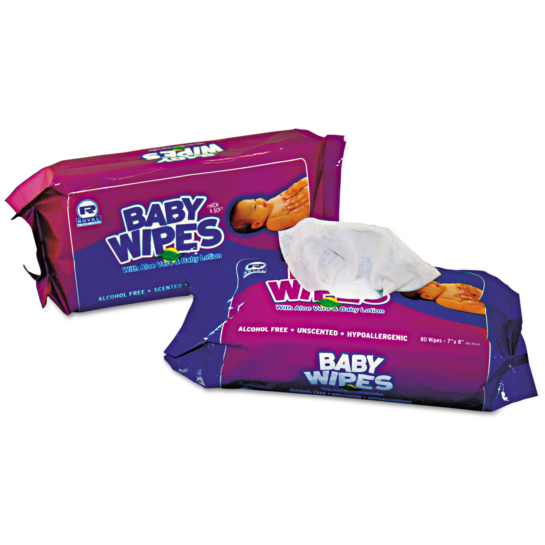 Royal Baby Wipes Refill Pack, White, 80/Pack, 12 Packs/Carton