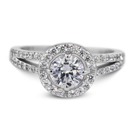 18K White Gold Engagement Ring Natural Diamond 1.83 Carat Round Brilliant D