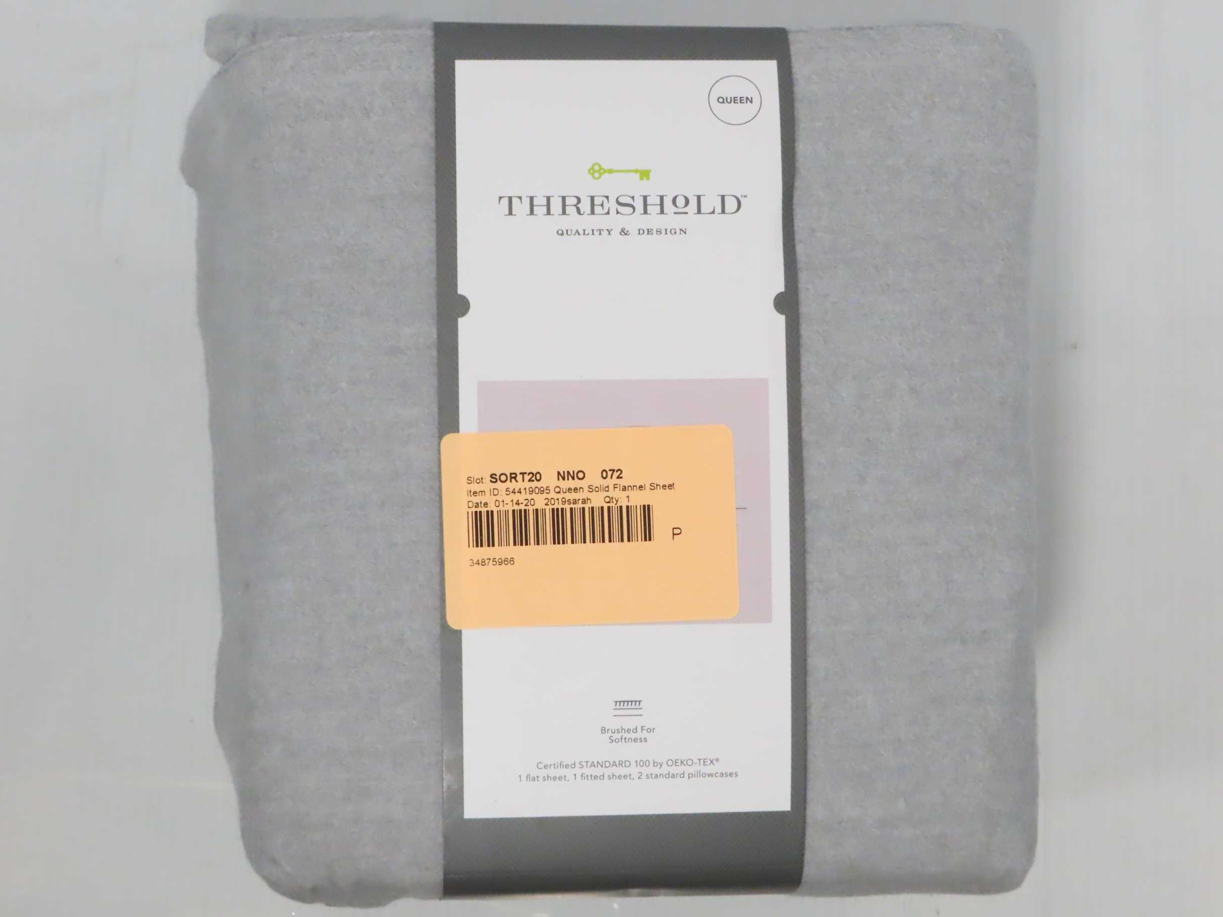 Threshold Queen Size Flannel Sheet Set Solid Gray Soft Sheets and 2 Pillowcases