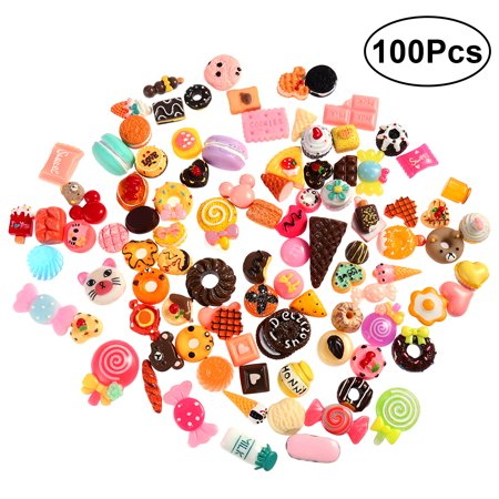 JUMBO 100pcs Mixed Lot Food Simulation Cake Ice-cream Resin 3D Nail Art Cell Phone DIY Decorations Cabochon Craft Miniature Ornaments Accessories