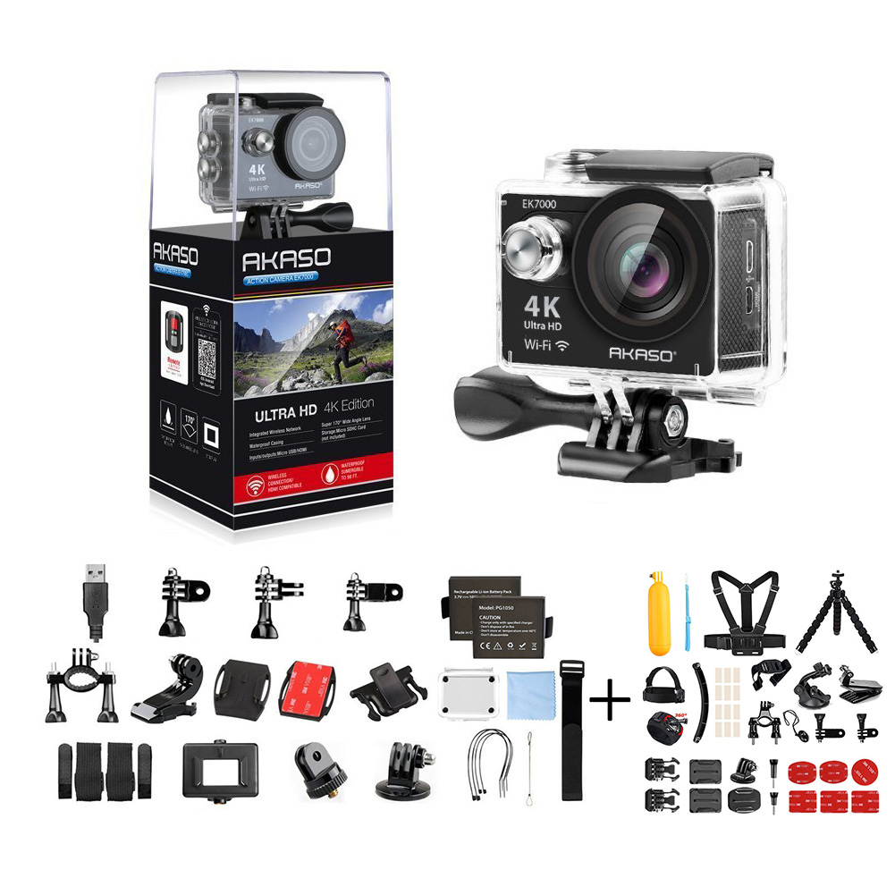 AKASO EK7000 4K Action Camera WIFI Ultra HD Waterproof Sports DV Camcorder 12MP 170 Degree Wide Angle + 14 in 1 Camera Accessories & 1 Year Extended Warranty-Black