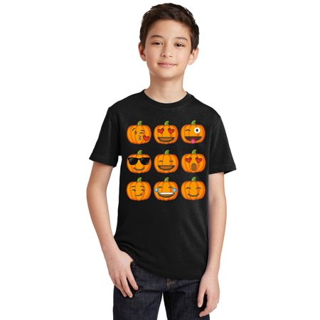 Pumpkin Emoji Funny Halloween Costume Youth T-shirt, Youth XL, - Halloween Emojis