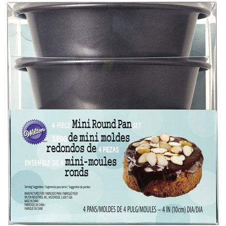 "Wilton Bakeware 4"" Mini Round Pan Set, 4 ct. 2105-0117"