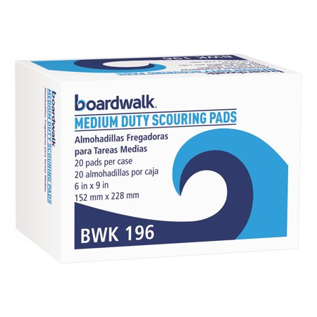Boardwalk Medium Duty Scour Pad, Green, 6 x 9, 20/Carton -BWK196