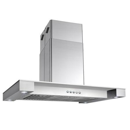 "AKDY 36"" Island Canopy Flat Squared Glass Stainless Steel Range Hood LED Modern"