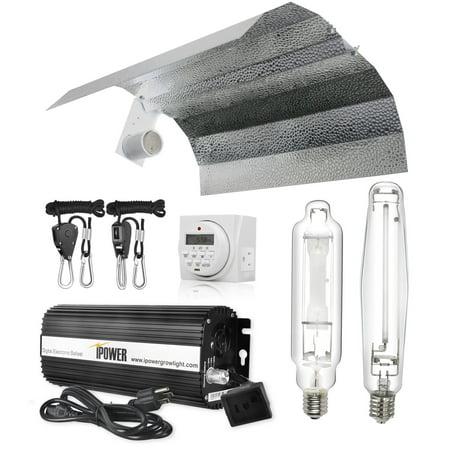 iPower 1000 Watt HPS MH Digital Dimmable Grow Light System Kits Wing Reflector Set with Timer 150w Hps Grow Light