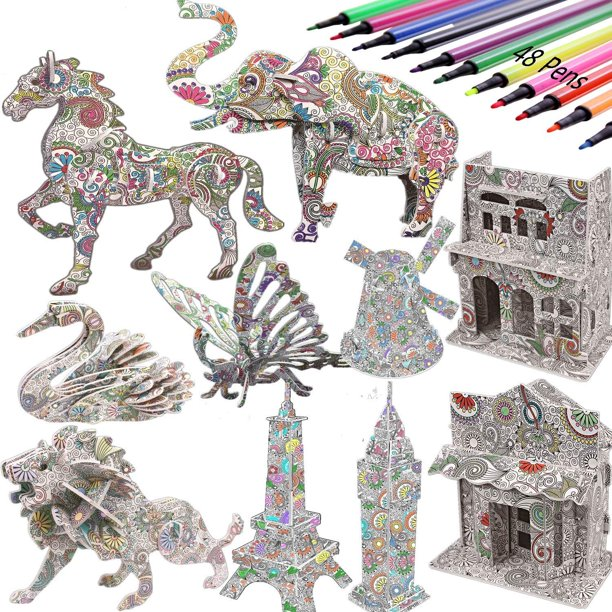 3d Coloring Painting Puzzles Set Diy Arts And Crafts For Girls Boys Perfect Creativity Kit Ideal Kids And Adults Gifts Educational Assembly Toys 10pack Walmart Com Walmart Com