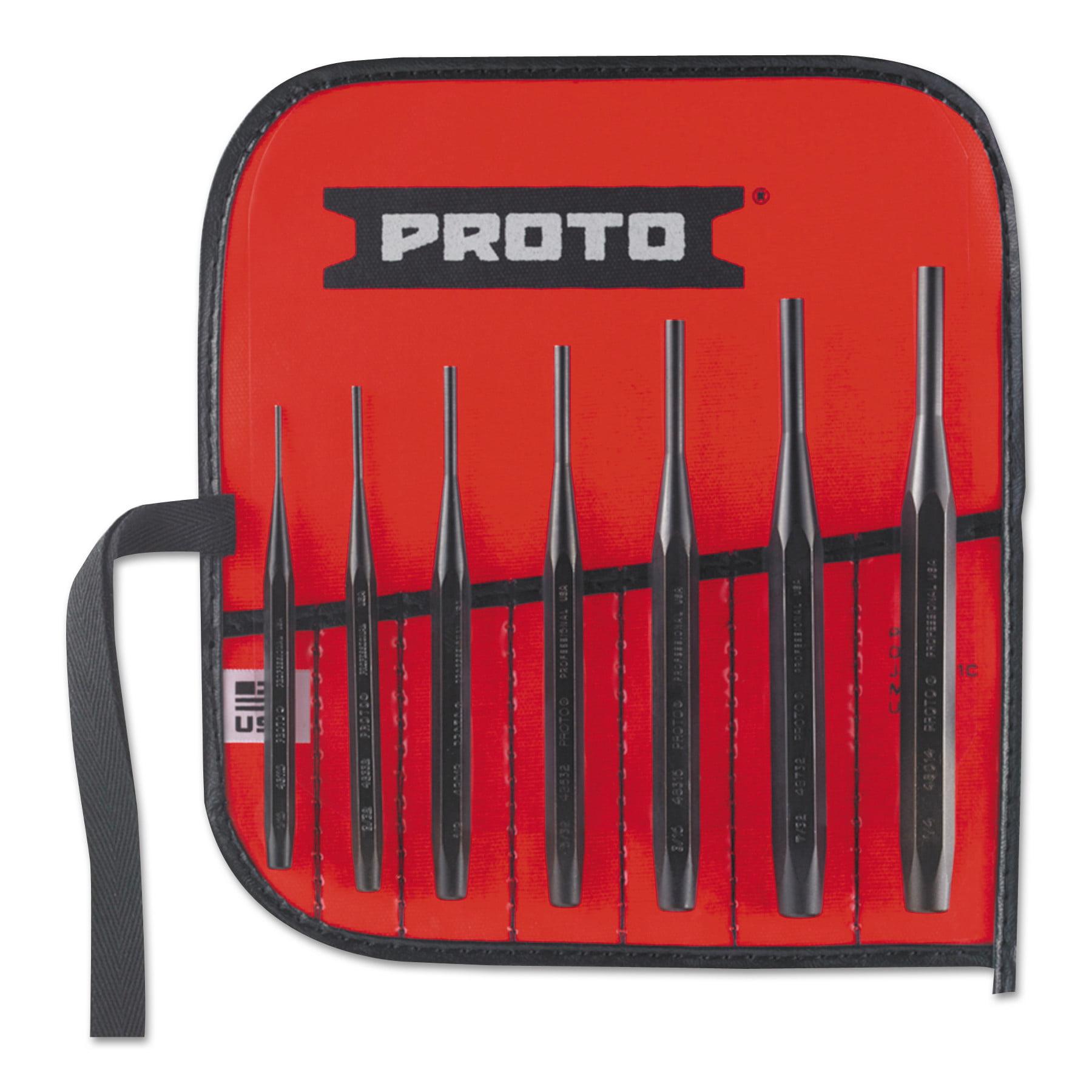 Proto 7 Pc. Super-Duty Drive Pin Punch Sets, Flat, English, Kit Pouch