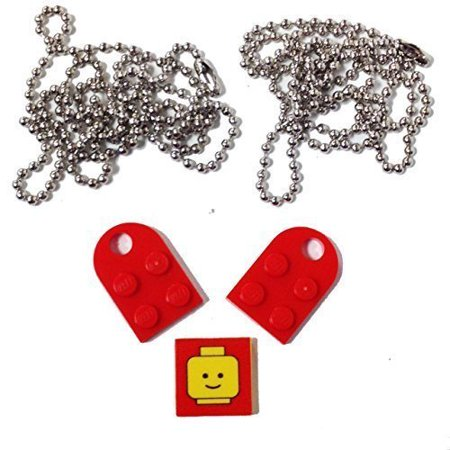 "Lego Parts: Valentine Heart Necklace/Keychain Bundle Kit (2) Red Modified 3 x 2 Plates with Hole (1) Decorative Tile (2) 24"" Nickel Plated Ball Chains"