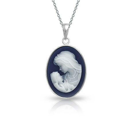 Vintage Victorian Style Navy Blue White Carved Mother Loving  Cameo Pendant Necklace For Women 925 Sterling Silver Vintage Carved Mother Of Pearl