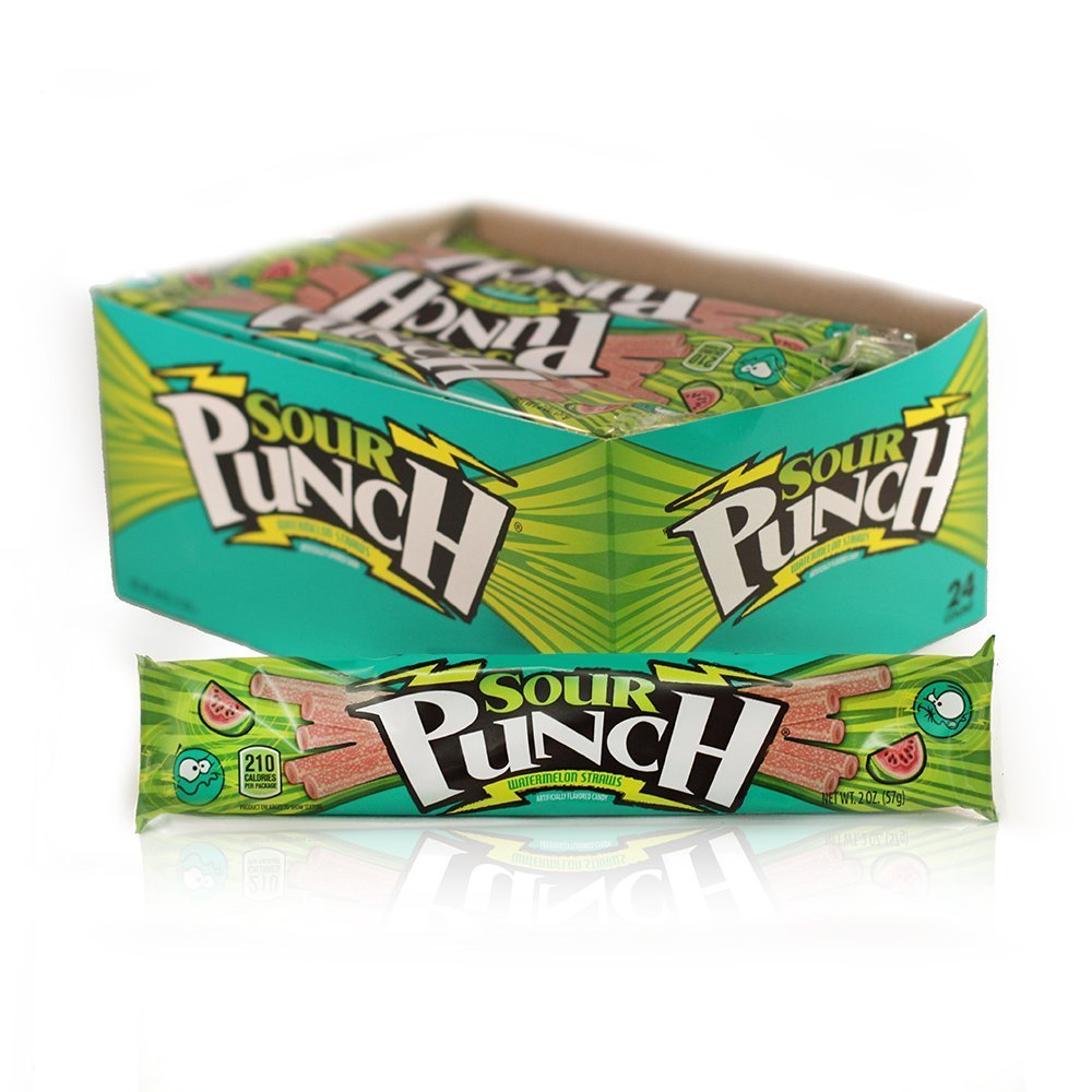288 PACKS : Sour Punch Watermelon Straws