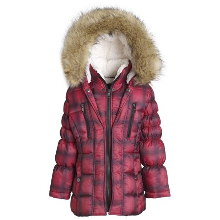 dc4f7824f23 Steve Madden Girl Winter Down Alternative Hooded Short Bubble Puffer Jacket  Coat