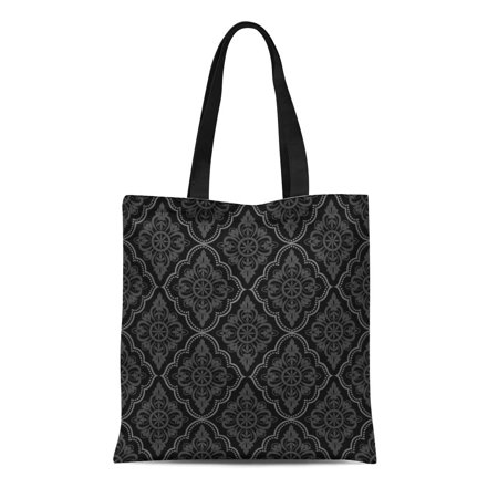 Contemporary Antique Scroll - LADDKE Canvas Bag Resuable Tote Grocery Shopping Bags Baroque Black Damask Vintage Floral Pattern Grey Scroll Antique Contemporary Tote Bag
