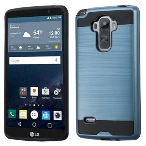 Insten Hard Dual Layer Rubber Coated Silicone Cover Case For LG G Stylo - Blue/Black