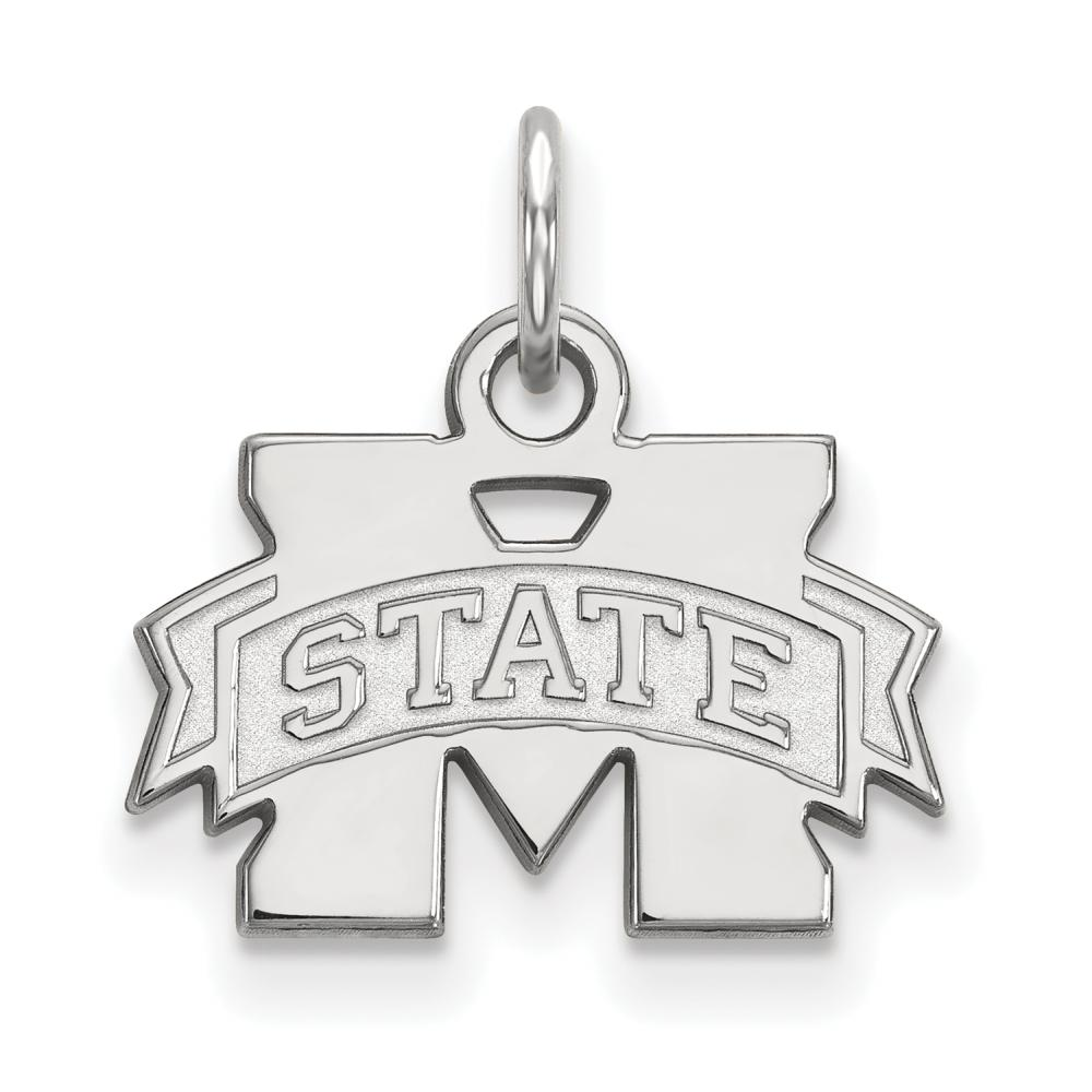 Mississippi State Extra Small (3/8 Inch) Pendant (Sterling Silver)