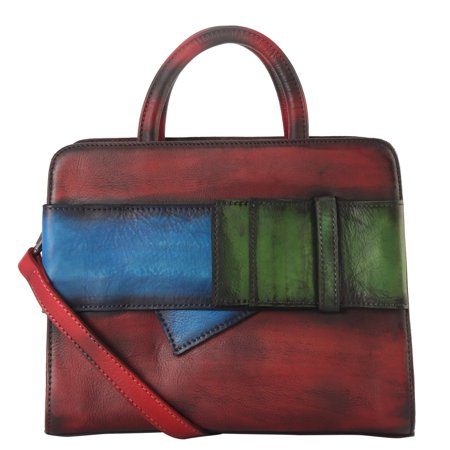 Genuine Leather 3 Tones Buckle Deoration Tote