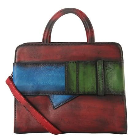 Genuine Leather 3 Tones Buckle Deoration -