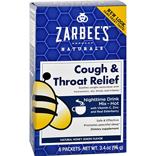 2 Pack Zarbee's Cough and Throat Relief Honey Lemon Nighttime Drink 6 Packets