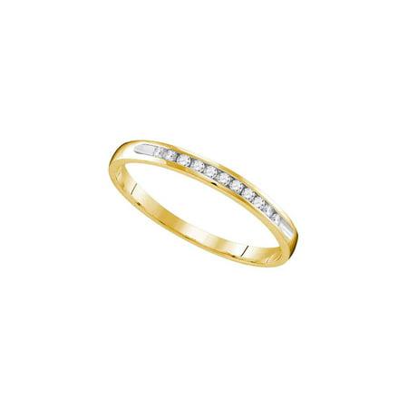 10k Yellow Gold Womens Round Diamond Wedding Anniversary Bridal Band Ring 1/10 Cttw ()