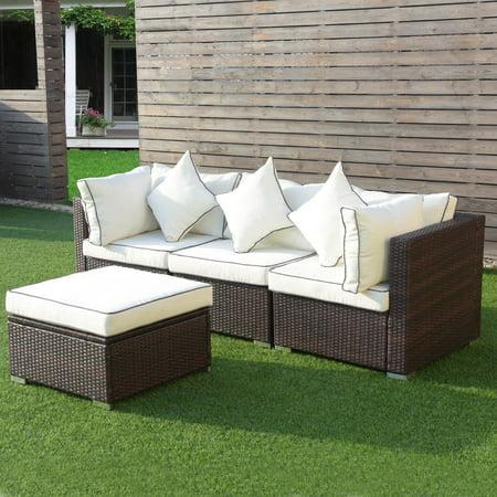 Costway 4PCS Wicker Rattan Sofa Furniture Set Patio Garden Lawn Sofa Cushioned