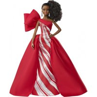 Barbie 2019 Holiday Doll, Brunette High Ponytail with Red & White Gown