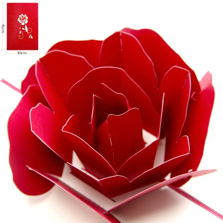 Rose 3D Pop Up Card For Valentines Day Lover Romance Cute