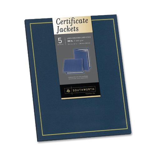 """Southworth Certificate Jackets - Letter - 8.50"""" X 11"""" - Navy Blue - 5 / Pack (PF6)"""