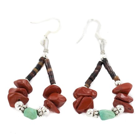 90 Retail Tag .925 Sterling Silver Hooks Authentic Made by Charlene Little Navajo Natural Turquoise Heishi Red Jasper Hoop Native American Earrings