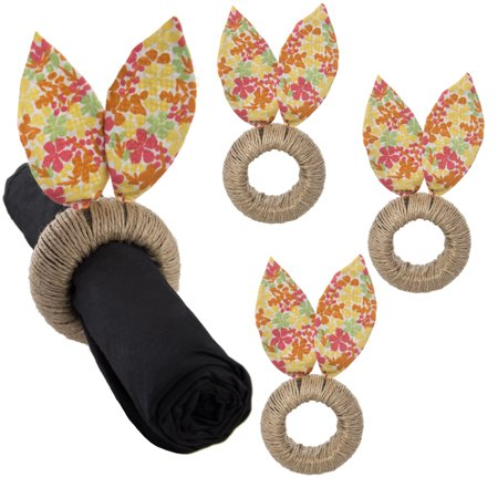 4 Pack Petite Floral Easter Bunny Ears Napkin Rings Set By Tag Table Setting Decoration (Table Settings)