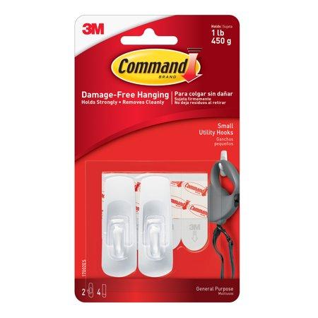 3M Command Hooks Small White 2 Pkg