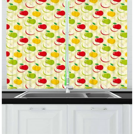 Apple Curtains 2 Panels Set, Diagonal Checkered Pattern with Apples and Slices Retro Country Kitchen Theme, Window Drapes for Living Room Bedroom, 55W X 39L Inches, Green Red Yellow, by Ambesonne - Kitchen Decorating Themes